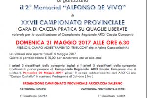 Arci Caccia Salerno Domenica 21 Maggio Si Corre Il Memorial Alfonso De Vivo