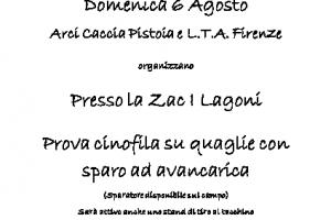 Domenica 6 Agosto A Pistoia Prova Cinofila Ad Avancarica In Collaborazione Con L.T.A. Firenze
