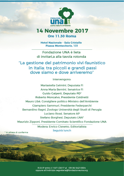 Invito Tavola Rotonda Fondazione UNA 14.11.17