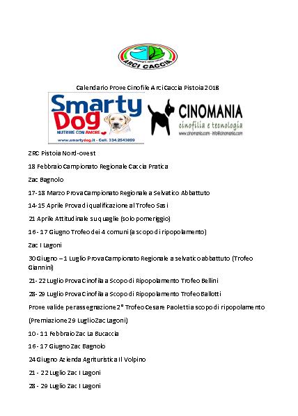 Calendario Prove Cinofile 2018