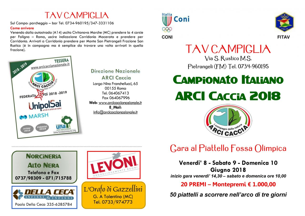 8-9-10 Giugno, A Fermo, Va In Scena Il Campionato Italiano Di Tiro A Volo